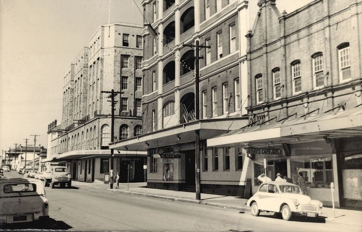 Scott Street, showing the George Hotel and the Great Northern Hotel. Both hotels face Newcastle Railway Station. Vinco series no. 25.  This image was scanned from a photograph in the Newcastle and Hunter District Historical Society archives which are held by Cultural Collections at the University of Newcastle, Australia.  If you have any information about this photograph, please contact us.  Please contact us if you are the subject of the image, or know the subject of the image, and have…