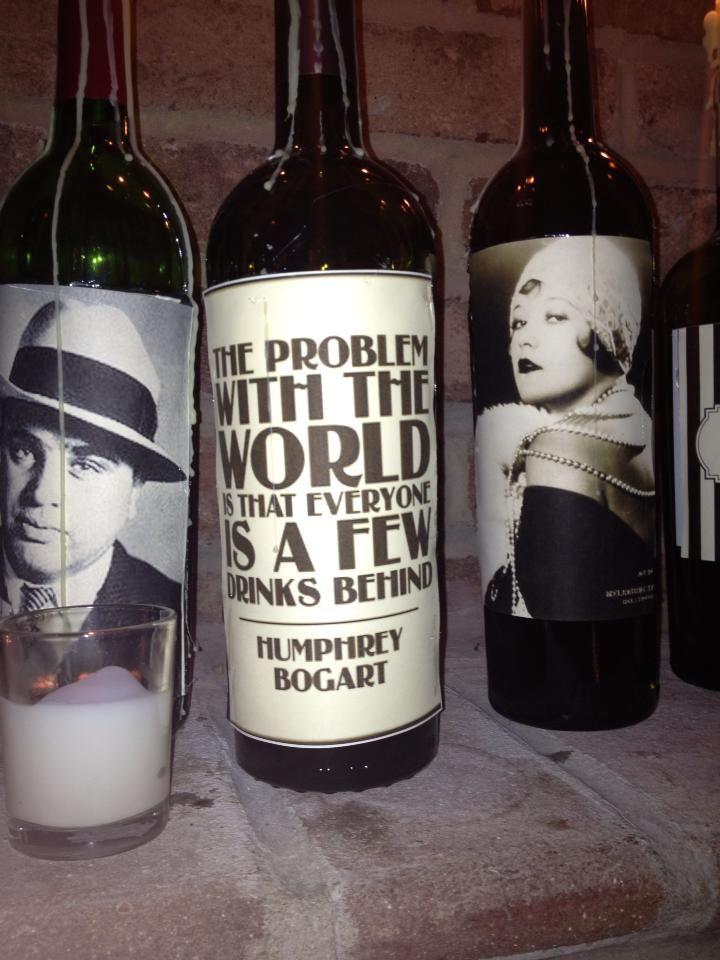 Roaring 20's Party Wine Bottle Decor