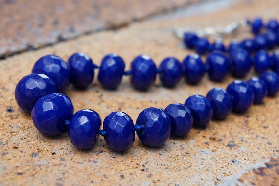 Indigo agate, agate, blue agate, blue, Royal blue, necklace, Semi precious stone, Jewellery, Stone necklace, Gift for her