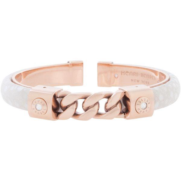 Henri Bendel Petite Chain Bowery Cuff Bracelet ($108) ❤ liked on Polyvore featuring jewelry, bracelets, white, cuff bangle, henri bendel jewelry, white cuff bracelet, henri bendel and steel bangle