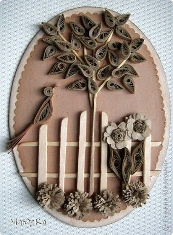 delightful card with a quilled scene...tree, bird, fence, flowers...monochromatic browns...