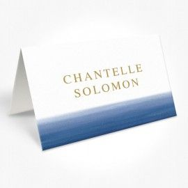 Blue Ombre Watercolour Wedding Placecards Place Cards, Navy and Gold, Professionally Printed, Peach Perfect Australia