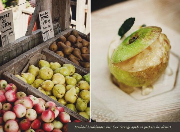 Michael Stadtlander uses Cox Orange apple to prepare his desert at Melbourne Food and Wine Festival Earth MasterClass