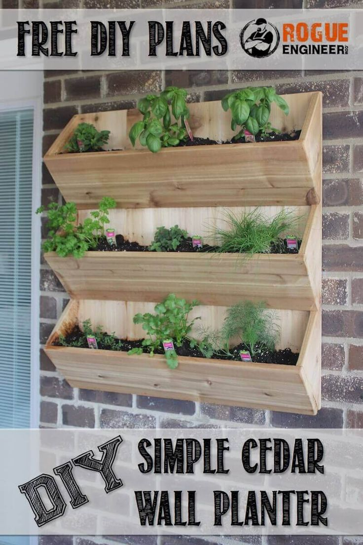 DIY Simple Cedar Wall Planter | Free Plans at RogueEngineer.com