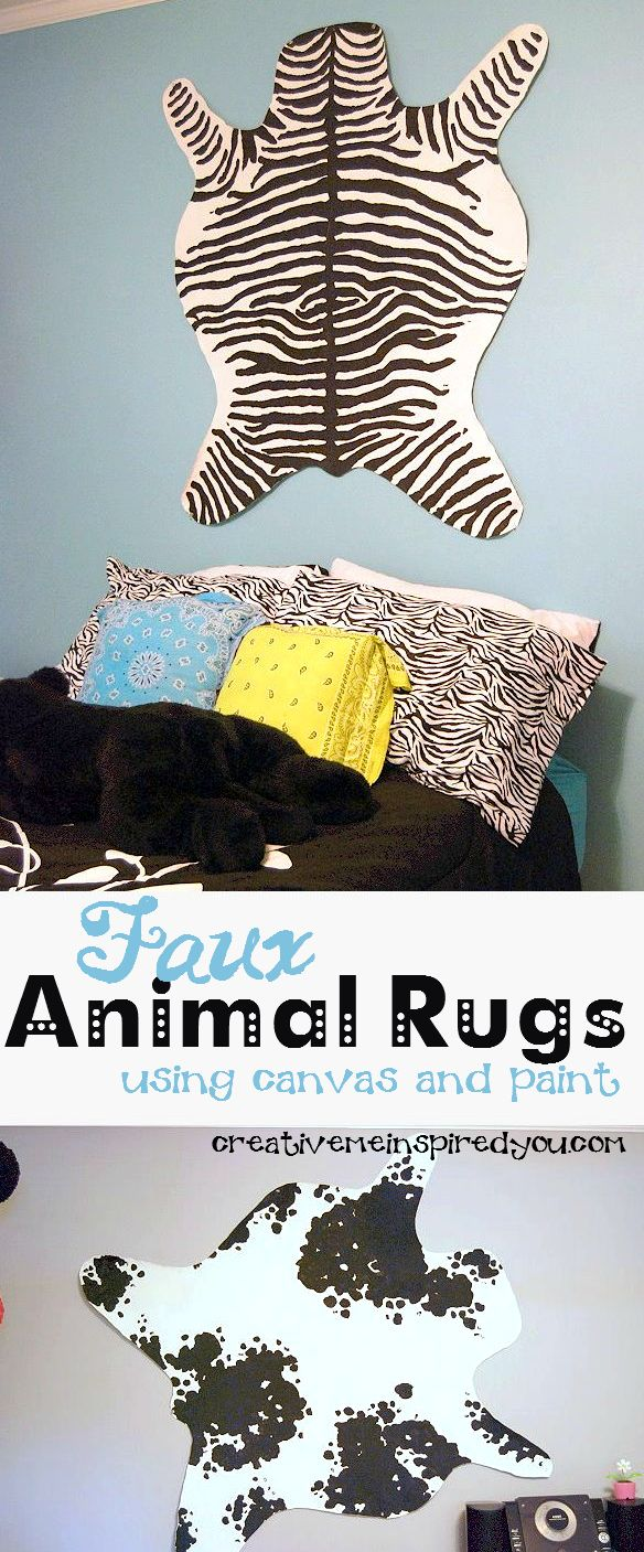 http://creativemeinspiredyou.com/faux-animal-skin-rugs/ Love the look of these rugs, great look for a lot less!