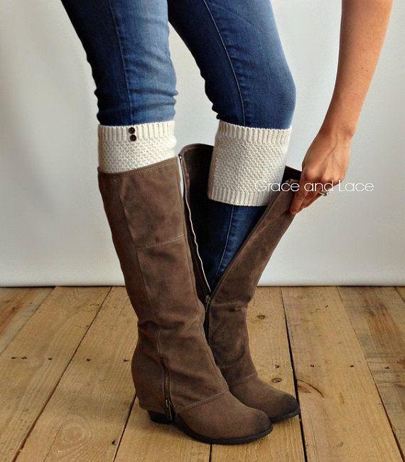 Kiesel Knit Boot Cuff - Hafer Schaltfläche Boot Manschette - Knit Boot Topper faux Beinlinge, die Socke mit Metall Knöpfe - Stulpen Boot Wärmflasche tops