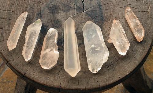White quartz crystals