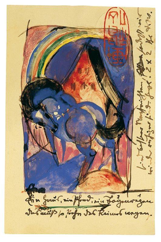 Franz Marc, 'Pferd und Haus mit Regenbogen', 1913. Postkarte von Franz Marc aus Sindelsdorf an Paul Klee in München, ahlers collection. © VG Bild-Kunst, Bonn 2010