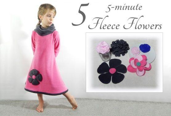 Make Five different fleece (or felt) Flowers