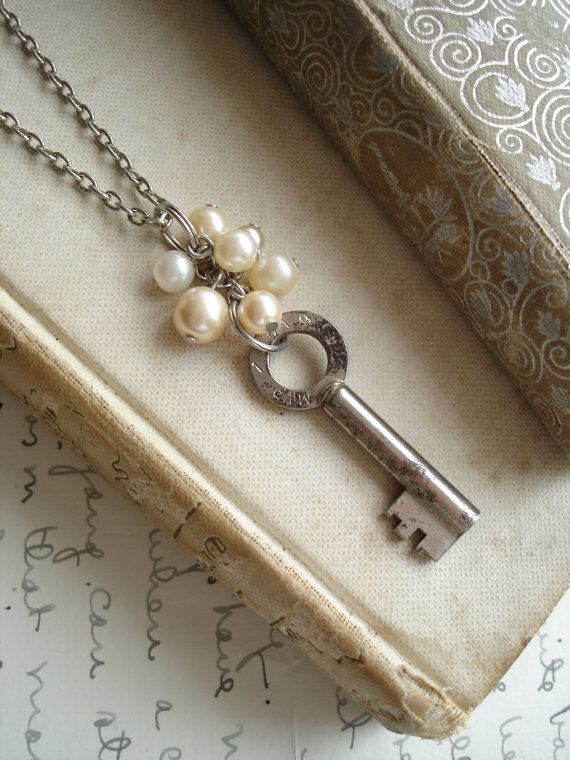 Mom: ETERNITY - Antique Key Necklace. Upcycled Key. Rare Vintage Skeleton Key Necklace with Shabby Bohemian Glass Pearls. Eco Friendly Jewelry.