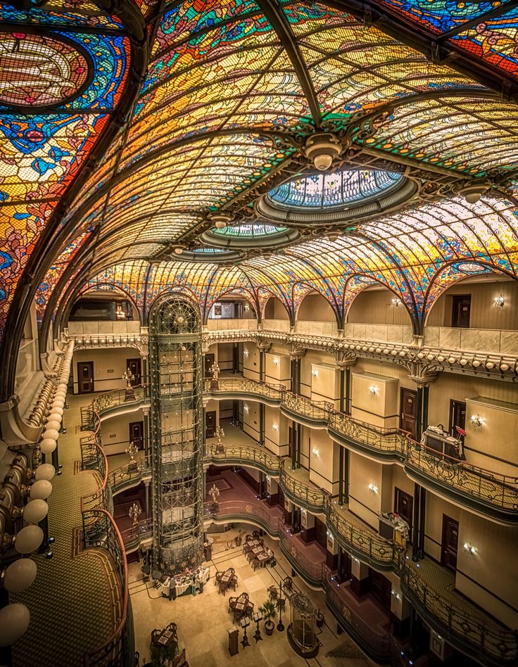 Gran Hotel - The Art Noveau style hotel Gran Hotel Ciudad de México in Mexico City. The beautiful stained-glass ceiling is designed by the Frenchman Jacques Grüber. Some might recognize the hotel from the opening scene in the latest James Bond movie.