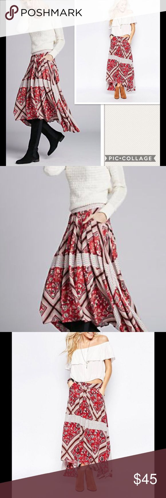 """NWT Free People Paradise Printed Midi Skirt Red An eclectic mix of florals and stripes converge on this flirty-meets-free-spirited skirt from Free People. Waist 30""""  Banded waist, pleated, side slit pockets Concealed zip back closure, printed, asymmetric handkerchief hem Rayon. Unlined.  Machine wash Free People Skirts Midi"""
