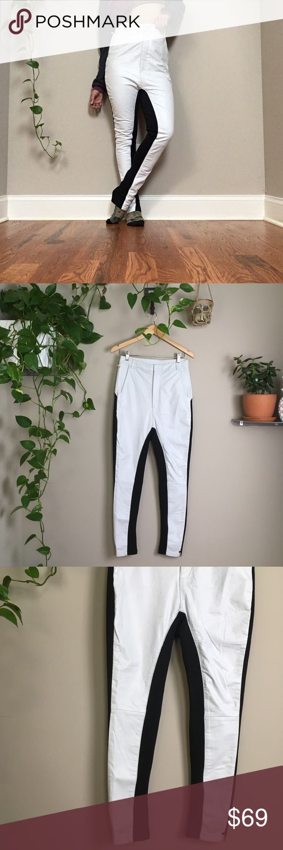 NWT✨One Teaspoon Bowie pants New with tags, One Teaspoon Bowie leather pants.  White leather pants with black stretch ponte fabric contrast. Front zipper fly closure. Top portion of pant is lined for comfort. Black ponte fabric forms a contour design, which covers a large portion of the back of the pant. Although NWT, these aren't perfect; leather is a little worn/distressed looking and there are tiny tiny marks on top part of pants—pictures as accurate as possible    🤦🏻‍♀️No trades…