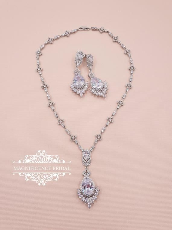 Savannah Silver Jewelry Set Wedding Earrings cubic zirconia necklace set bridal jewelry Bridal Jewelry Set Silver