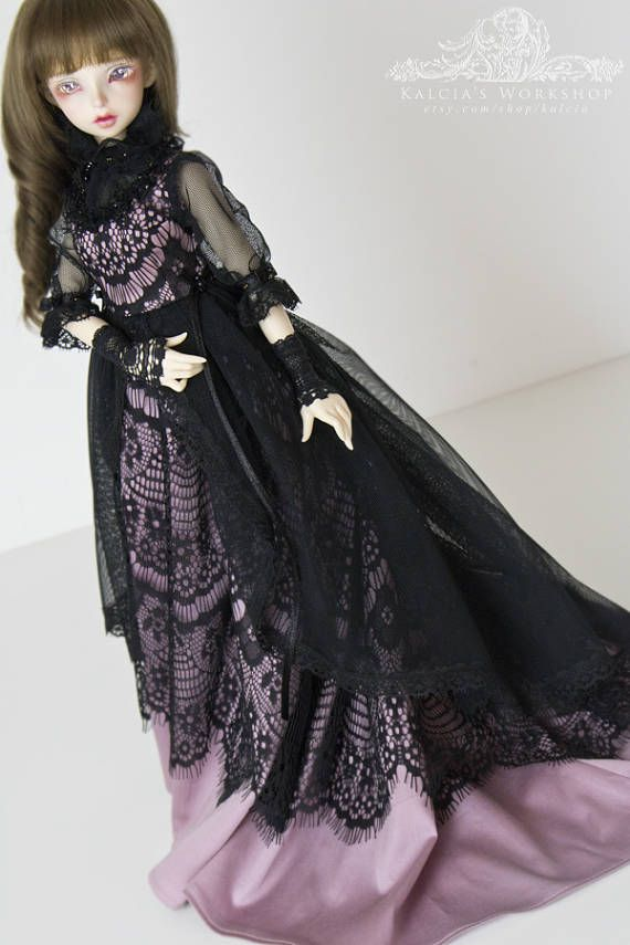 Dusted Dream  elegant lace dress for slim Mini Super Dollfie