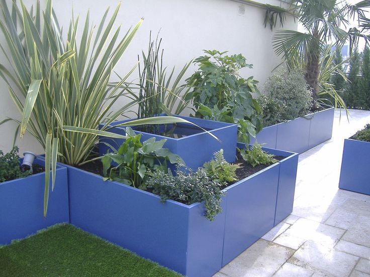 Vaso da giardino in fibrocemento / da parete / altre forme / con cuccia - IRP25.20H20 - RAL 9010 - IMAGE'IN