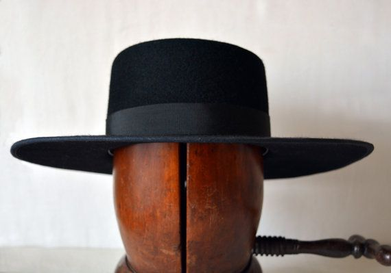 Black Bolero  Wide Brim Flat Crown Wool Felt by HatsNCompany