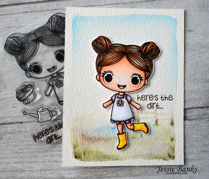 It's Day 3 of Sneak Peeks for Stamp Anniething's March Release!  Check out this adorable card made by our Guest Designer Jessie Banks using the new Victoria ~ Here's the Dirt. #stampanniething #rubberstamps #copics #copicmarkers #cardmaking #chibistamps #planting #gardening #seeds #dirt