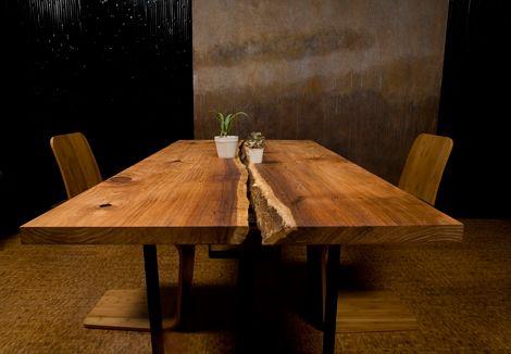 slab wood dining table