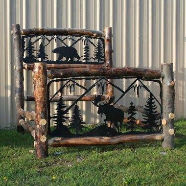 beaver creek aspen double metal insert log bed bedroom sets