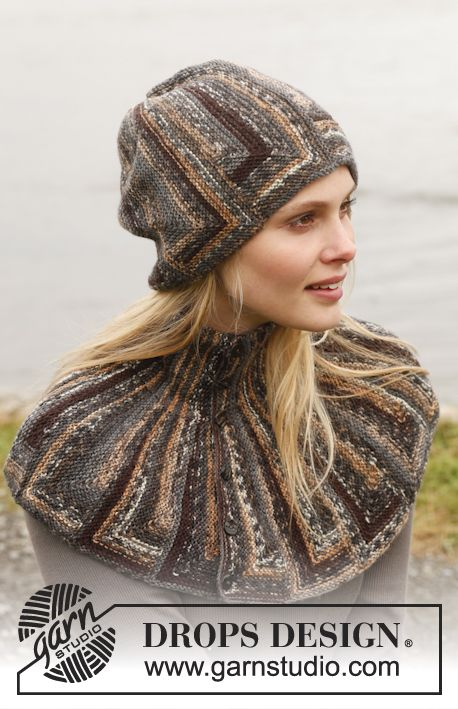 "Set consists of: Knitted DROPS hat and neck warmer with domino squares in ""Fabel"". ~ DROPS Design"