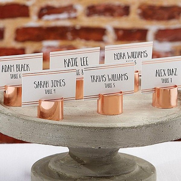 Industrial Chick copper pipe place card holders sold in sets of 6