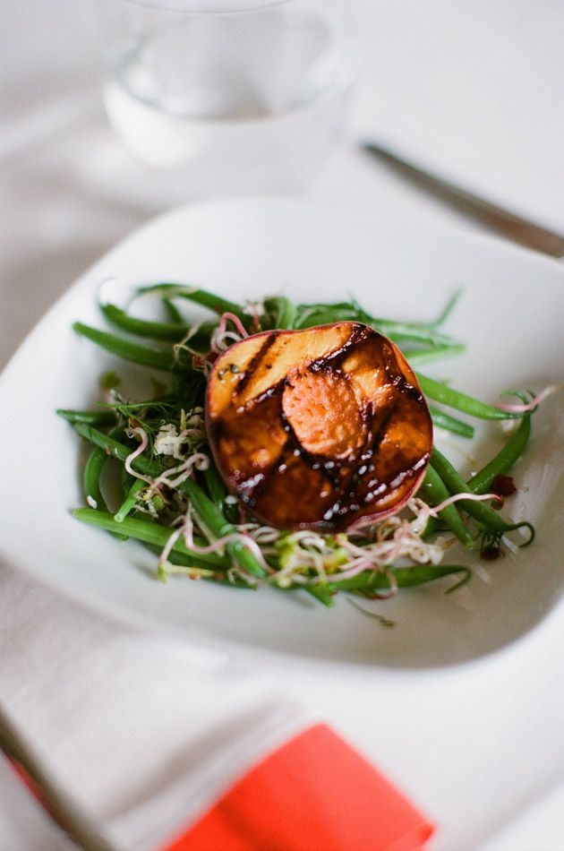 Grilled Peach and Haricot Vert Salad. Delish!