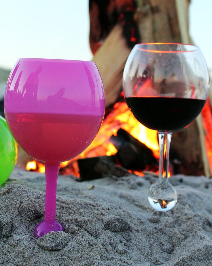 Wine glasses that float in the water and stand in the sand!  Yes, Please!