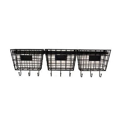 metal wire 3 basket wall pocket mail holder organizer with key hooks. Black Bedroom Furniture Sets. Home Design Ideas