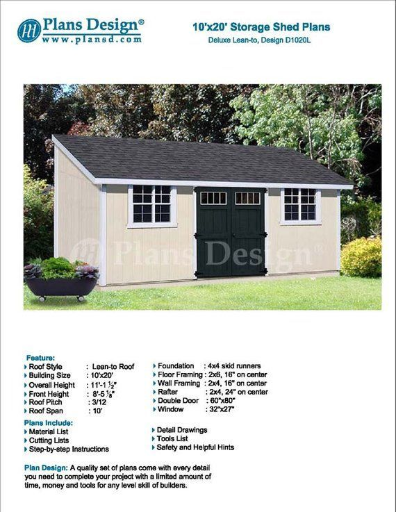 10 X 20 Garden Storage Lean To Shed Plans Blueprints Material List Detail Drawnings And Step B Gardenshedplans Shed Plans Shed Lean To Roof