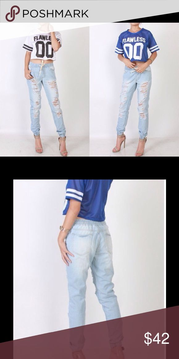 Distressed Light Wash Jean Joggers Jean jogger pants with front ripped detail, front and back pockets, drawstring waist and cinched ankle.*  Different sizes available S,M,L Thats so trendy Pants Track Pants & Joggers