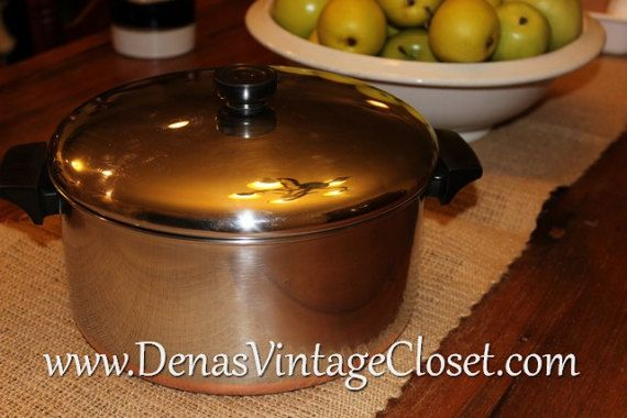 Vintage Rever Ware 6 QT Dutch Oven Stockpot With Lid Copper Clad Bottom