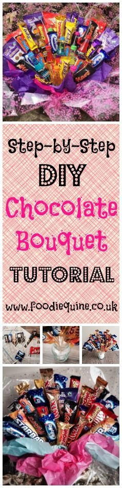 www.foodiequine.co.uk A crafty foodie gift tutorial. Learn how to make a Chocoholic Chocolate Bouquet. Candy Bouquet. Sweet Bouquet. The perfect handmade gift to create for a Chocoholic - perfect for Birthdays, Christmas, Valentines, Anniversary, Mother's