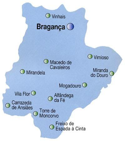 Mapa do Distrito de Bragança, Portugal
