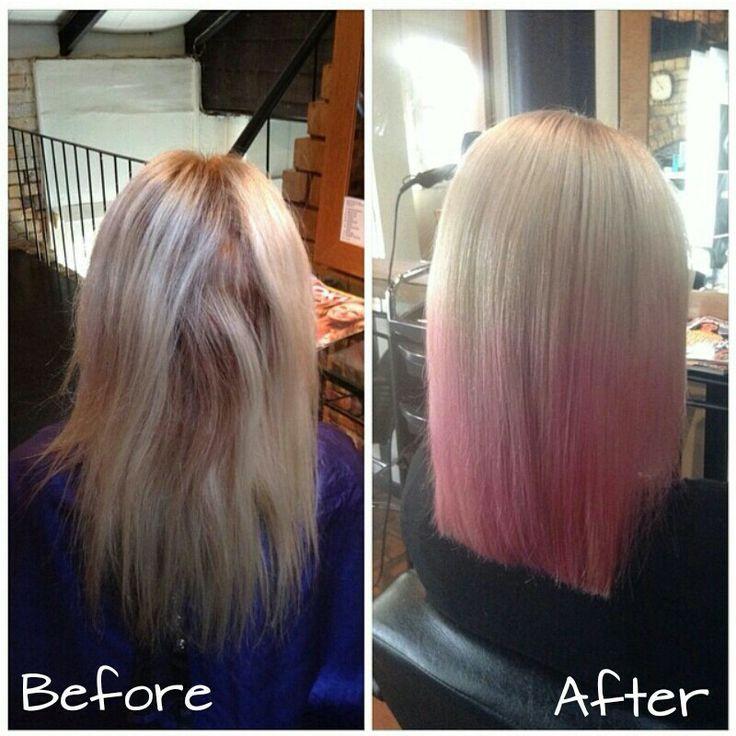 Blunt lob #blonde #pinkhair #styledbymia