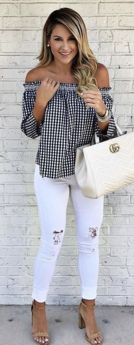 #summer #outfits Gingham Off The Shoulder Top + Ripped Skinny Jeans