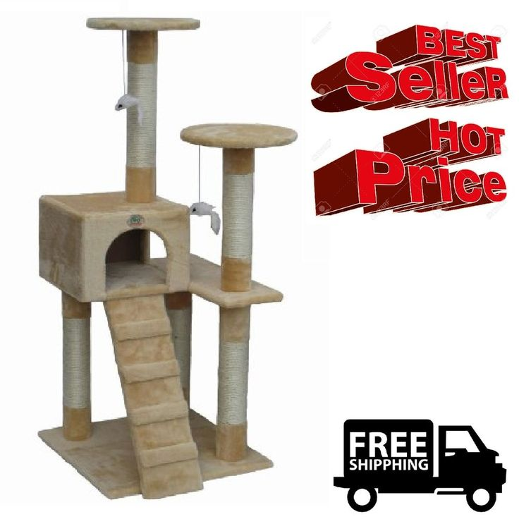 Cat Tree Go Pet Club Furniture Beige Keep Your Cats Off Your Furniture Faux Fur #GoPetClub