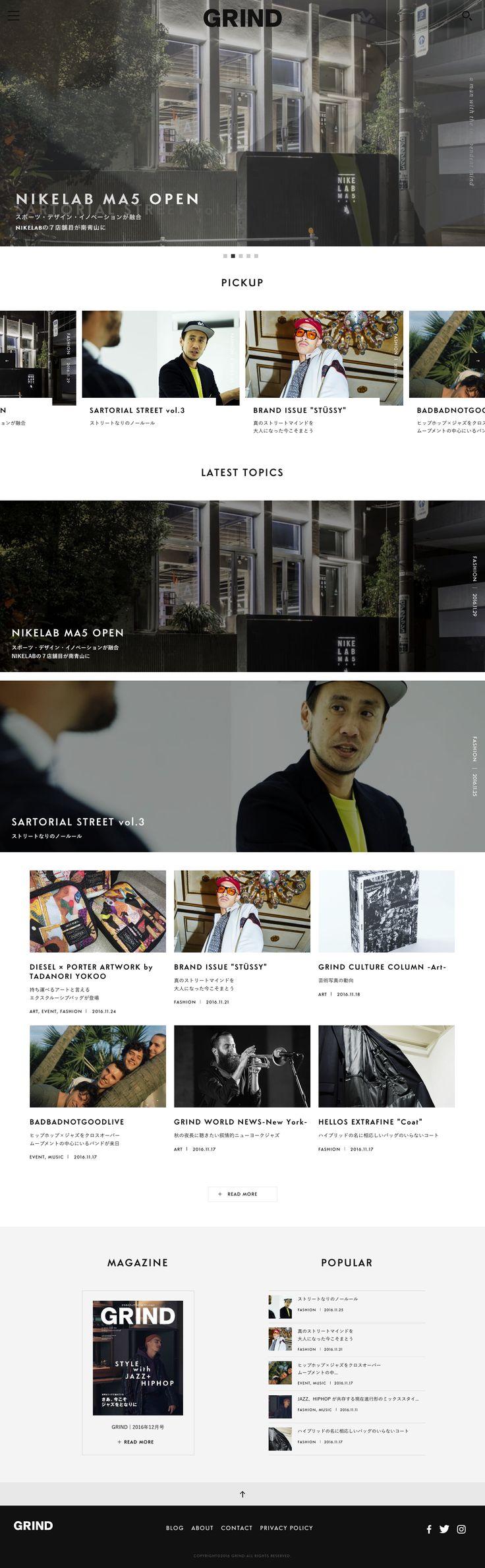 GRIND – 雑誌「GRIND (グラインド)」のオフィシャルサイト。 : 81-web.com【Webデザイン リンク集】