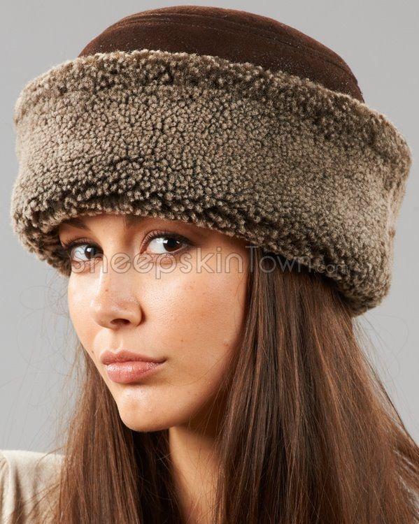 Shearling Sheepskin Cuff Hat - Brown Frost