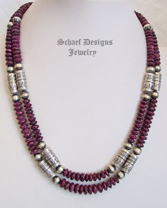 schaef designs purple spiny oyster sterling silver tube bead southwestern necklace new mexico southwest jewelryjewelry designjewelry ideasnative