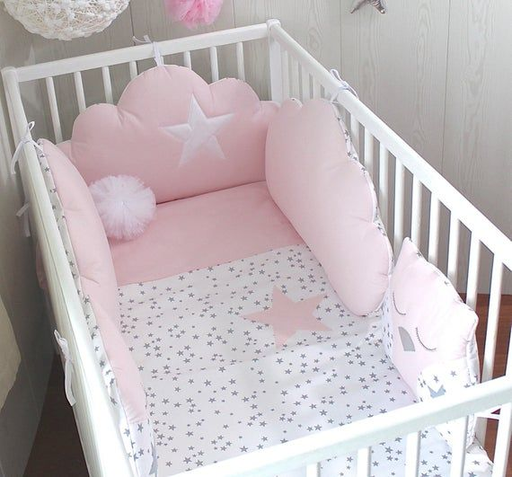 Quilt Cover For A Baby S Cot White With Grey Stars And Pale Pink
