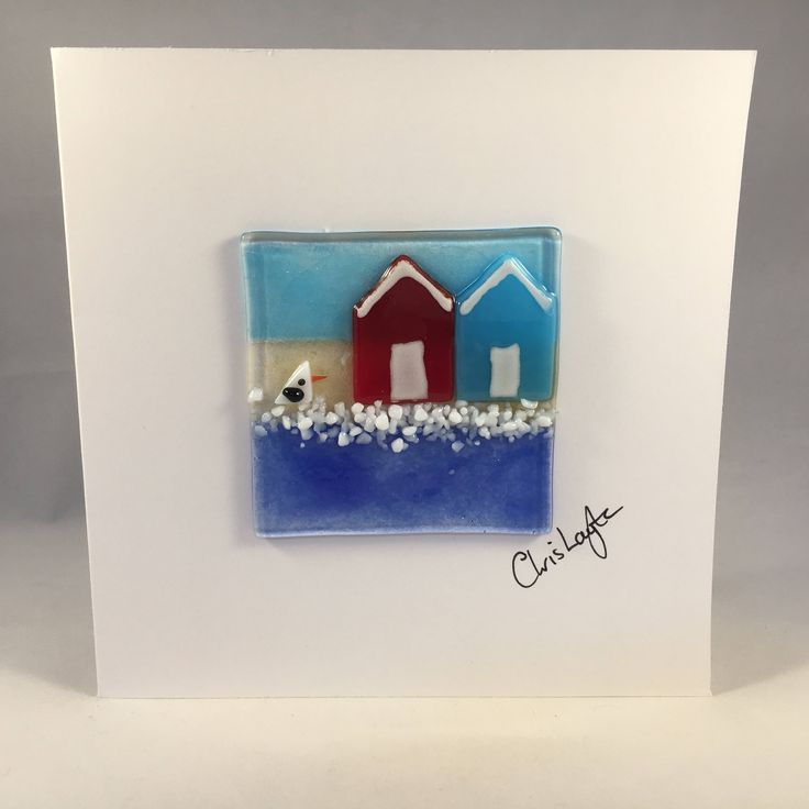 Fused Glass Greeting Card, Handmade, Beach Huts, Seaside Card, Nautical Card, Birthday, Any Occasion, Keepsake, New Home Card by WarmGlassFusion on Etsy