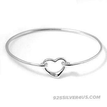 Shop Tiffany and Co Elsa Peretti Open Heart Bangle | Tiffany and Co Silver Cuff Bracelet