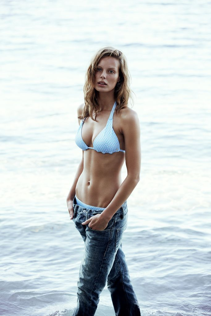 too nice for remote islands - subtle sky-blue triangle bikini paired up with denim - by #CarolineBlomst for #Esprit Beachwear Capsule Collection