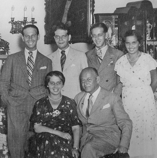 Hungarian architect Moric Pogany and his wife, Margit, with their sons, Miklos, Danes, Gabor, and daughter, Anna-Marie,1933. Pogany died of cancer in 1942.  In 1944, his wife and daughter were taken to Auschwitz, based on the family's original Jewish background -- although they had, long before, converted to Catholicism.  Both died.  The sons were fortunate to escape this tragic fate.
