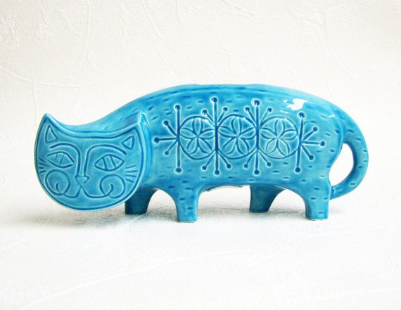Cat of the Day, and doesn't he look happy! <3 Ceramic Bank Retro Atomic Cat 50's Coin Bank Sprockets Flowers in Aqua