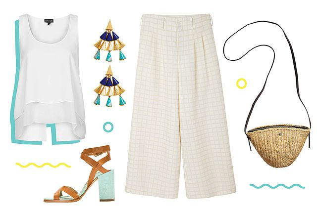 We may be stuck at work, but there's no denying we've got vacation on the brain. Styled with off-white, checked culottes, this laid-back ensemble let's you capture those carefree summertime vibes. Tropical-inspired accessories like turquoise and lapis lazuli earrings and a straw bag are just the cherries on top (of the piña colada).