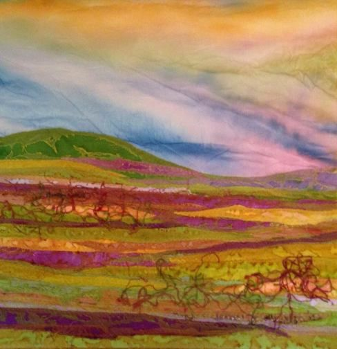 Autumn Afternoon by Judith Reece - Textile on canvas --Beautiful works