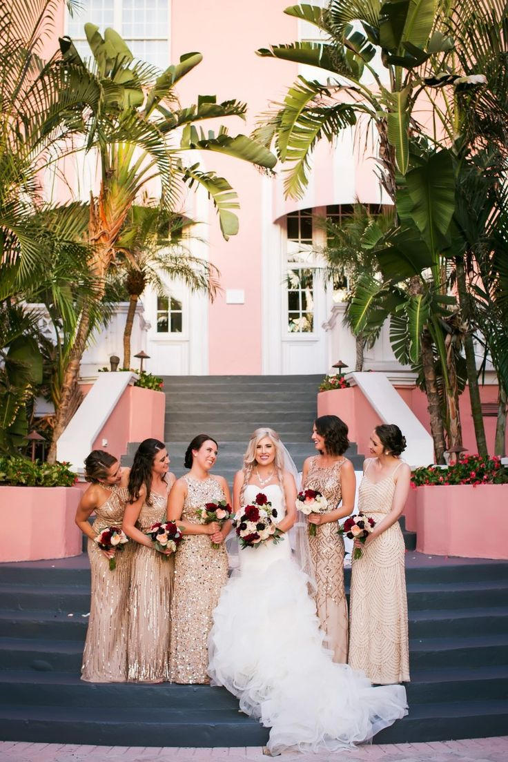 We're obsessed with these long sparkly gold bridesmaid dresses. Gorgeous! (Limelight Photography)