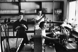 Edna Warren, film editor, at work.